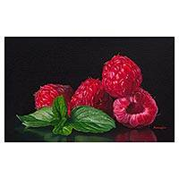 'Beautiful Composition' - Signed Oil Painting of Raspberries from Peru