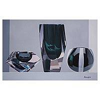 'Harmonies of Forms' - Oil Painting of Three Glass Sculptures from Peru