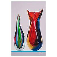 'The Color of My Dreams' - Oil Painting of Two Colorful Glass Sculptures from Peru