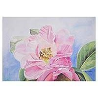 'Spring Light' - Signed Watercolor Painting of a Pink Flower from Peru