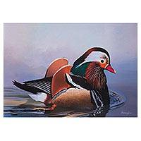 'Caresses of Water' - Signed Painting of a Mandarin Duck from Peru
