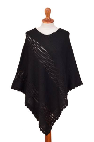 Eyelet Pattern Crocheted Alpaca Blend Poncho from Peru