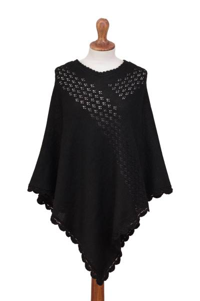 Crocheted Alpaca Blend Poncho in Black with Eyelet Patterns