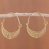 Gold plated sterling silver filigree hoop earrings, 'Gold Fiesta' - 24k Gold Plated Sterling Silver Filigree Hoop Earrings