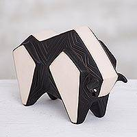 Ceramic sculpture, 'Geometric Bull of Chulucanas' - Geometric Ceramic Bull Sculpture from Peru