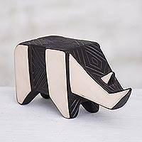 Ceramic sculpture, 'Geometric Rhino' - Geometric Ceramic Rhino Sculpture from Peru