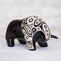 Ceramic sculpture, 'Paisley Bull' - Burnished Ceramic Bull Sculpture from Peru