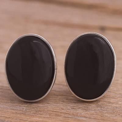 Obsidian clip-on earrings, 'Night Pools' - Oval Obsidian and Sterling Silver Clip-On Button Earrings