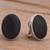 Obsidian clip-on earrings, 'Night Pools' - Oval Obsidian and Sterling Silver Clip-On Button Earrings (image 2b) thumbail