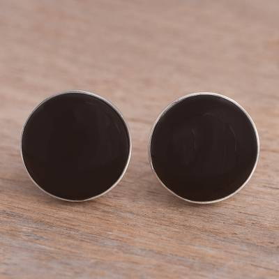 Obsidian clip-on earrings, 'Nightfall Reflection' - Round Obsidian and Sterling Silver Clip-On Button Earrings