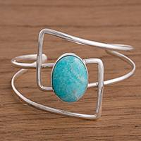 Amazonite cuff bracelet, 'Angles' - Amazonite and Sterling Silver Modern Abstract Cuff Bracelet