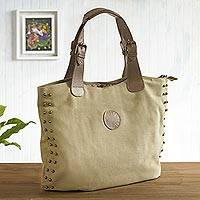 Leather accent cotton shoulder bag, 'Beige Sophisticated Companion' - Leather Accent Cotton Shoulder Bag in Beige from Peru