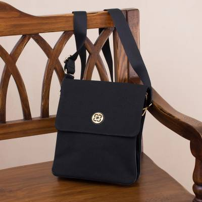 Leather accented cotton handbag, 'Dark and Elegant' - Leather Accent Cotton Handbag in Black from Peru