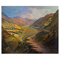 'The Incas Sacred Valley' (2018) - Signed Realist Valley Landscape Painting from Peru