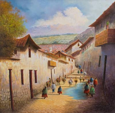 'Road to the Fair' (2018) - Signed Impressionist Cityscape Painting from Peru