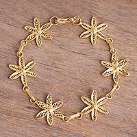 Gold plated sterling silver filigree link bracelet, 'Gold Citrus Blossoms' - Gold Plated Sterling Silver Filigree Link Bracelet from Peru