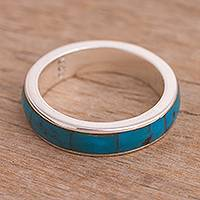 Chrysocolla band ring, 'Deep Waters' - Handcrafted Chrysocolla Inlay and Sterling Silver Band Ring