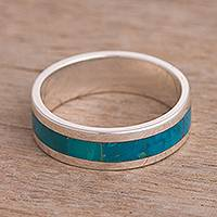 Chrysocolla band ring, 'Sea Ribbon' - Chrysocolla Inlay Stripe and Sterling Silver Band Ring