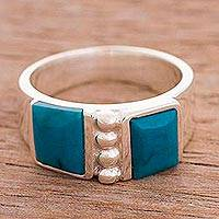 Chrysocolla cocktail ring, 'Worldly Windows' - Two Faceted Chrysocolla Gems Sterling Silver Cocktail Ring