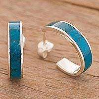 Chrysocolla half-hoop earrings, 'Sea Swell' - Inlaid Chrysocolla and Sterling Silver Half Hoop Earrings