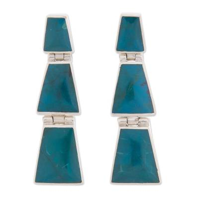 Chrysocolla and Sterling Silver Trapezoid Dangle Earrings