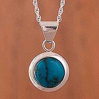Chrysocolla pendant necklace, 'Ocean Portal' - Round Chrysocolla and Sterling Silver Pendant Necklace