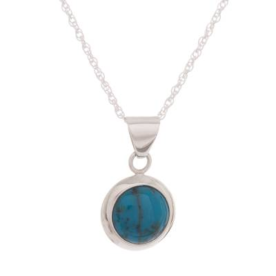 Round Chrysocolla and Sterling Silver Pendant Necklace