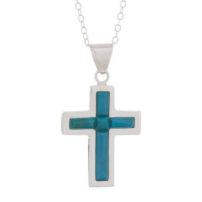 Chrysocolla and Sterling Silver Cross Pendant Necklace