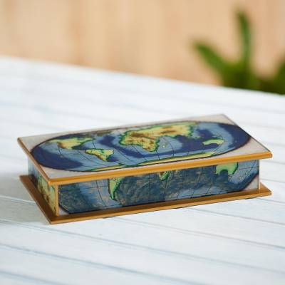 Reverse-painted glass decorative box, World View
