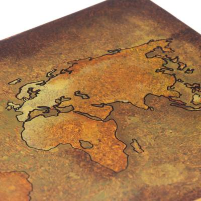 Reverse painted glass decorative box, 'Cartographer's Treasure' - Golden World Map Reverse Painted Glass Wood Decorative Box