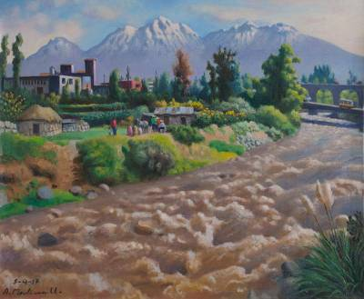 'Chili River' - Signed Original Oil Painting of a Peruvian Landscape