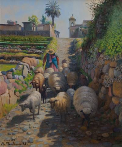 'Sunny Day in the Andes' - Signed Original Oil Painting of a Shepherdess in Paucarpata