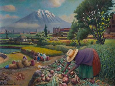 'Harvest Near Misti Volcano' - Original Signed Oil Painting of a Farm in the Valley