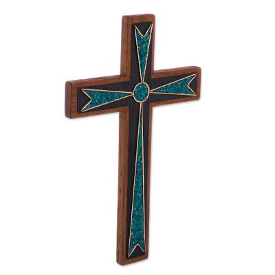 Handcrafted Wood and Chrysocolla Wall Cross from Peru