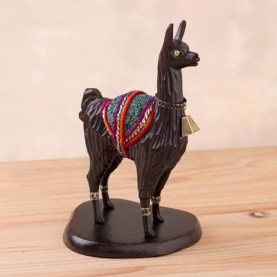 Wood statuette, 'Peruvian Llama' - Brown Hand Carved Wood Llama Statuette with Bronze Accents