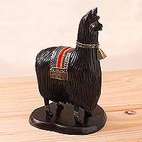 Wood statuette, 'Suri Alpaca' - Brown Hand Carved Wood Alpaca Statuette with Bronze Accents