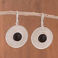 Smoky quartz filigree dangle earrings, 'Captivating Circles' - Smoky Quartz Filigree Dangle Earrings from Peru