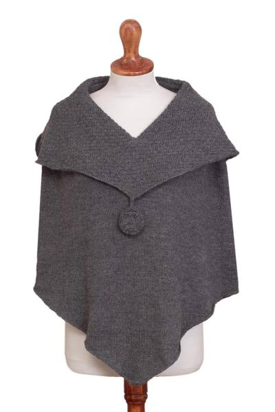 Dark Grey Knit 100% Alpaca Poncho with Hand Crocheted Trim