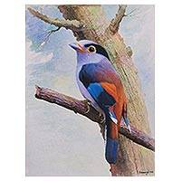 'Melody of the Alba' - Signed Watercolor Painting of a Colorful Bird from Peru