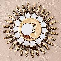 Bronze wall mirror, 'Bright Eclipse' - Moon-Themed Bronze Wall Mirror from Peru