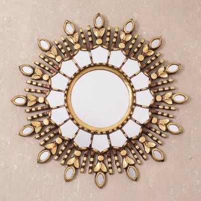 Bronze gilded wood wall mirror, 'Radiant Light' - Handmade Bronze Gilded Wood Wall Mirror from Peru