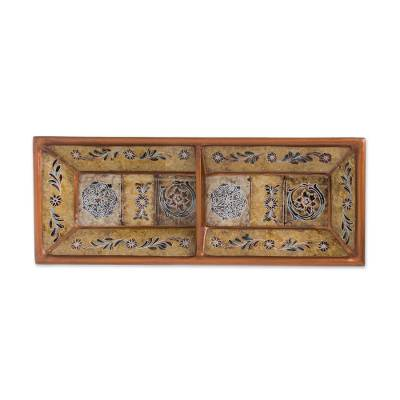 Floral Reverse-Painted Glass Catchall in Yellow from Peru