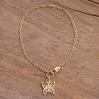 Gold plated sterling silver chain bracelet, 'Golden Butterfly' - 18k Gold Plated Sterling Silver Butterfly Charm Bracelet