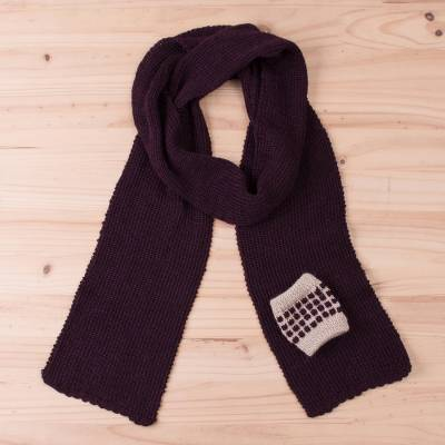 100% baby alpaca scarf, Textured Fashion in Mulberry