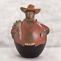 Ceramic sculpture, 'Banana Vendor' - Chulucanas Ceramic Sculpture Jolly Banana Seller with Hat