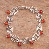 Carnelian link bracelet, 'Linked Labyrinth' (Peru)