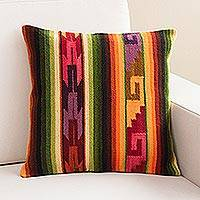 Wool cushion cover, 'Incan Glory' - Multicolor Square Wool Cushion Cover from Peru
