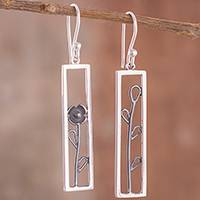 Sterling silver dangle earrings, 'Windowpane Garden' - Sterling Silver Flower in Rectangular Window Dangle Earrings