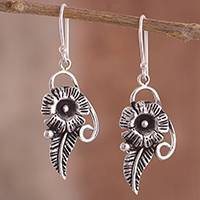 Sterling silver dangle earrings, 'Floral Flourish' - Sterling Silver Textured Flower Dangle Earrings from Peru