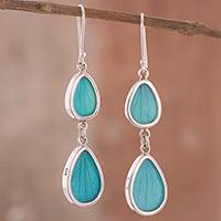 Natural leaf dangle earrings, 'Petal Illusion in Aqua' - Aqua Hydrangea Leaf and Sterling Silver Dangle Earrings